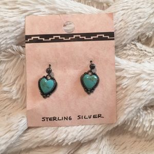 Jewelry - Sterling silver with turquoise heart earrings